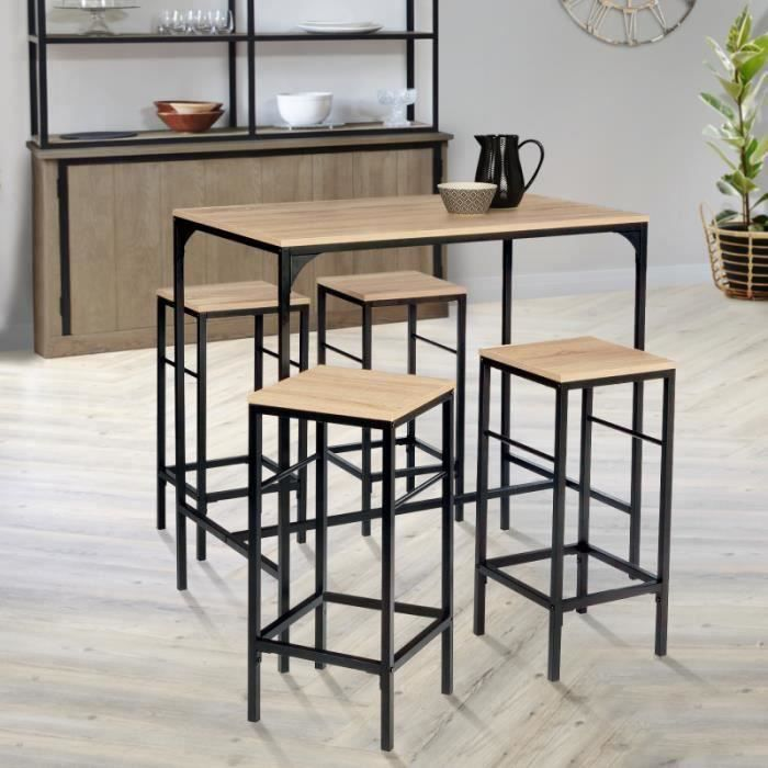 MANGE-DEBOUT Table haute DETROIT et 4 tabourets design industri