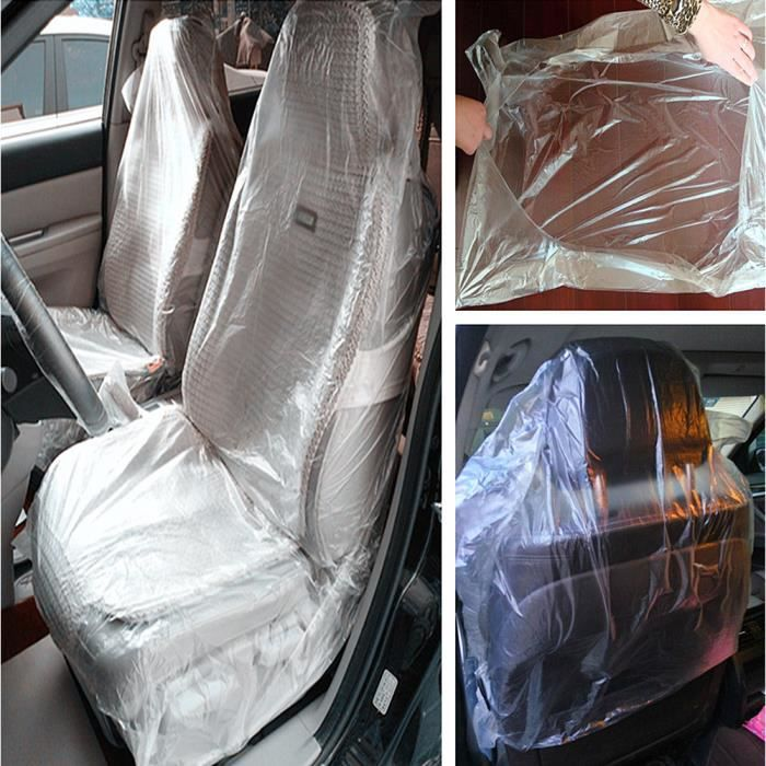 100pcs Pack Auto Disposable Clear Plastic Car Seat Covers Protector Mechanic Valet
