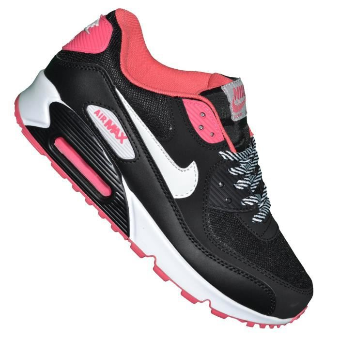 Nike -- Basket - Femme - Air Max 90 Essential 233 - Noir Rose Noir ...