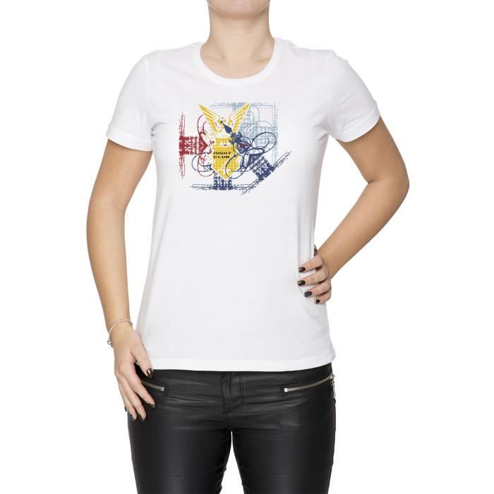 29600ce69cab Tee-shirt - Night Club Femme Cou D équipage Blanc Manches Courtes ...
