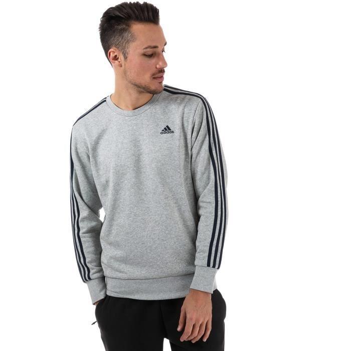 Sweatshirt adidas Essentials 3 Stripes pour homme en gris et