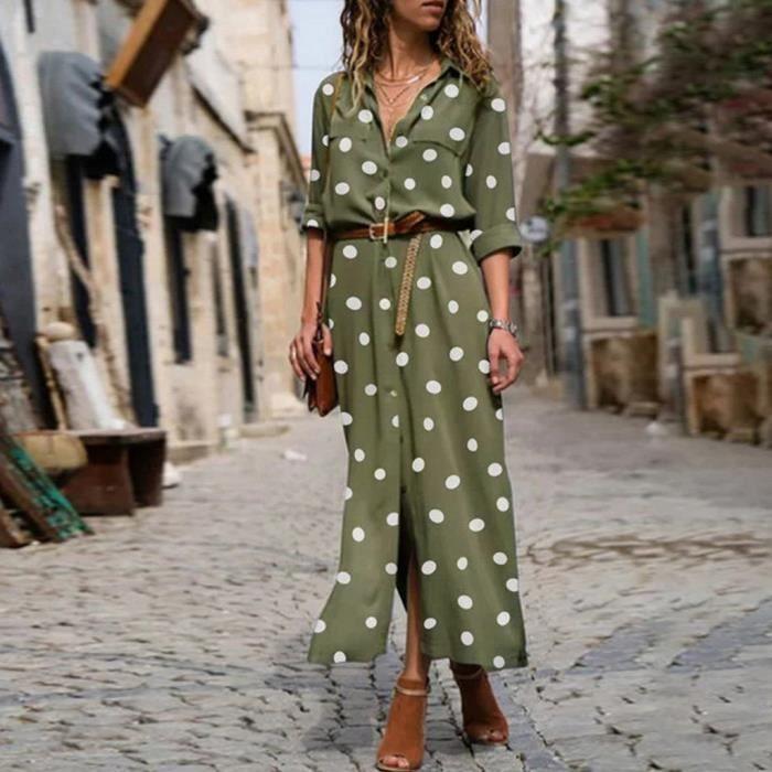 Robe Longue Femme s d'été imprimé à pois