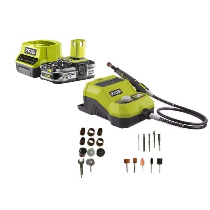 Pack RYOBI Mini-outil multifonction 18V 33 accessoires R18RT-0-1 Batterie 2.5Ah 1 Chargeur rapide RC18120-125