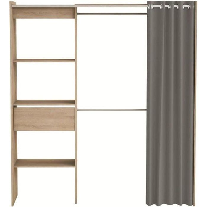 Chicago kit dressing extensible contemporain ch ne bross rideau en coton b - Dressing ferme par un rideau ...