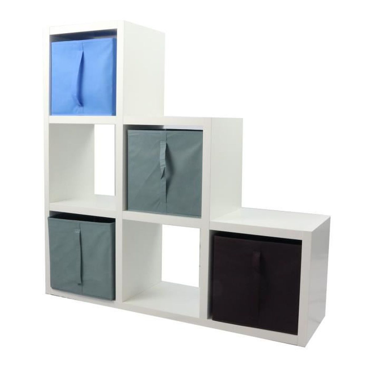 MEUBLE ÉTAGÈRE COMPO Meuble De Rangement 6 Cases + 4 Cubes Bleu/G