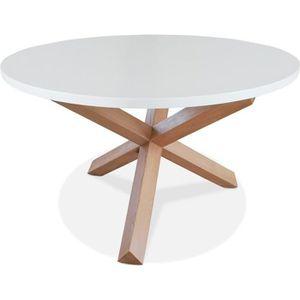 TABLE À MANGER SEULE Table ronde design 'MARVEL' blanche et chêne massi