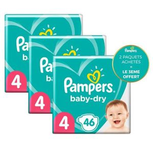 COUCHE Pampers Baby-Dry Taille4, 46Couches - Lot de 3