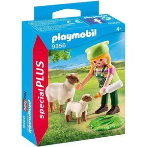 UNIVERS MINIATURE PLAYMOBIL 9356 - Country - Fermière avec moutons -