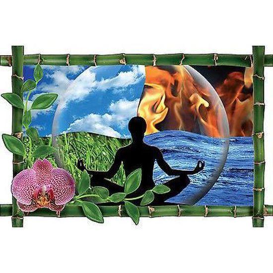 Sticker mural trompe l/'oeil déco bambou Galets  bambous zen réf 948