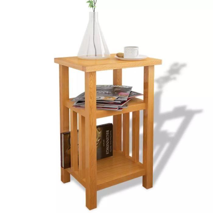 Table d'appoint avec étagère de magazines Chêne massif 27x35x55 cm - FIHERO