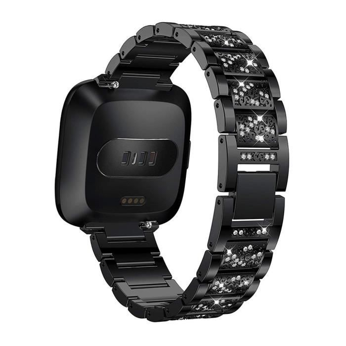 bracelet de montre vendu seul Bracelet de montre de rechange en acier inoxydable avec diamant pour Fitbit Versa Lite