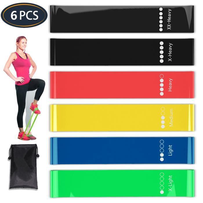 Bande Élastique Fitness, [Lot de 6] Bande de Résistance Élastique en Latex Équipement d'Exercice pour Musculation Sport Pilates Yoga