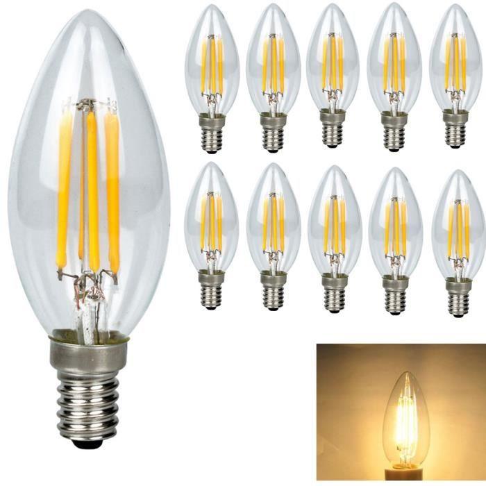 E14 Ampoule de Filament LED 4W Ampoule LED Edison C35 Bougie LED Blanc Chaud 400LM Aspect de Flamme Edison Lampe Filament AC 220V