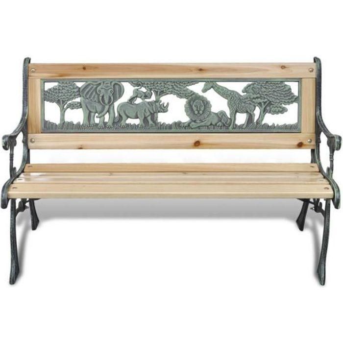 Magnifique Banc de Jardin pour enfant en Fonte Design Animaux 80 x 24 cm