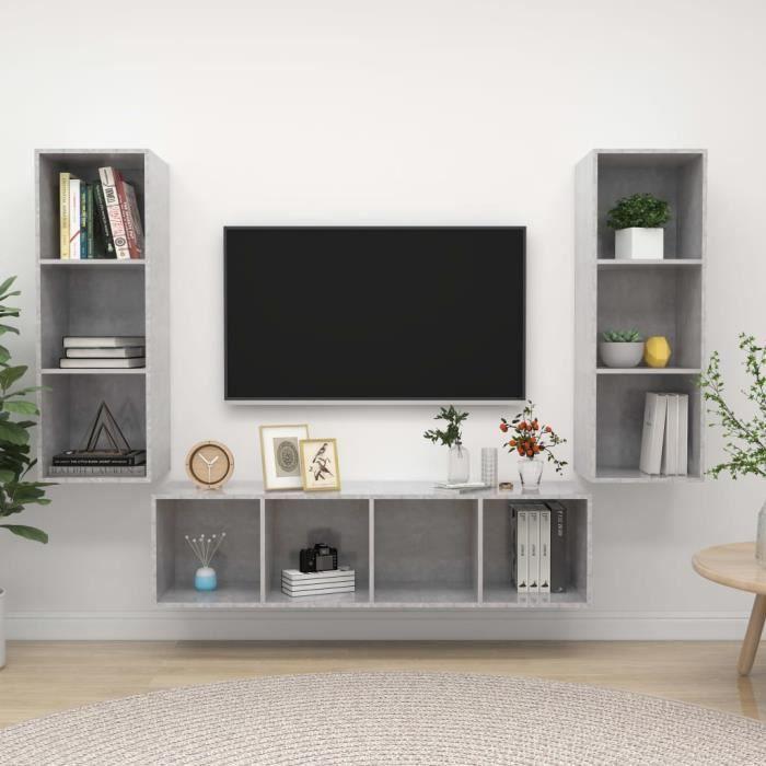 Unique Ensemble de meuble TV 3 pcs Ensemble de meuble TV suspendu MEUBLE TV MURAL COMPLET Gris béton Aggloméré 9386