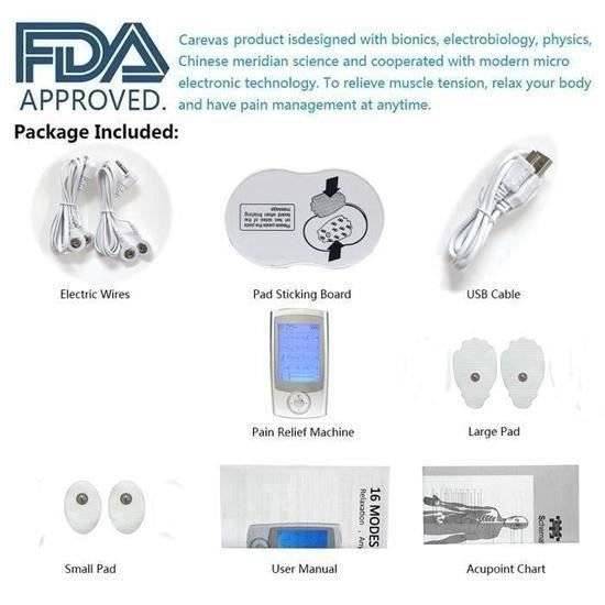 Électrostimulateur Tens Rechargeable Antidouleur Stimulateur Musculaire avec 16 Modes, 4 Électrodes pour Massage Tension Musculaire