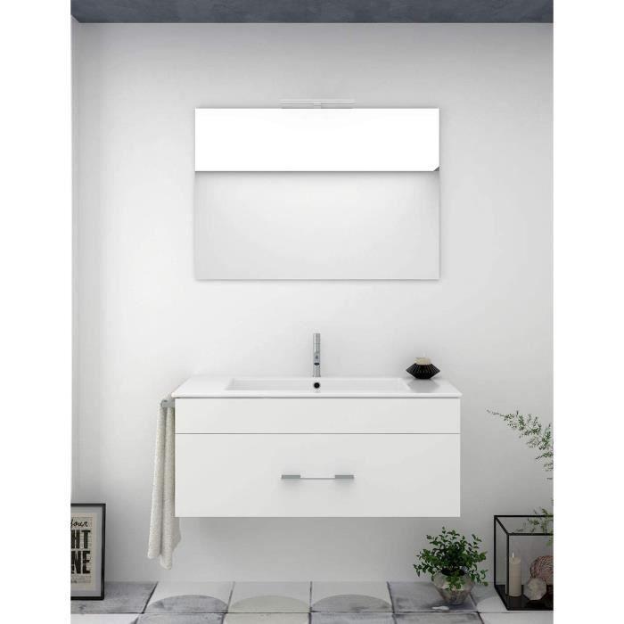 Meuble de salle de bain BRAGI 100CM Blanc avec plan vasque et miroir. Avec porte serviettes en cadeau!!!