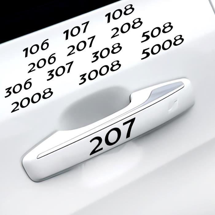 WHITE-3008 -4 pièces garniture en vinyle autocollants voiture porte poignée essuie glace autocollants pour Peugeot 206 207 208 306 3