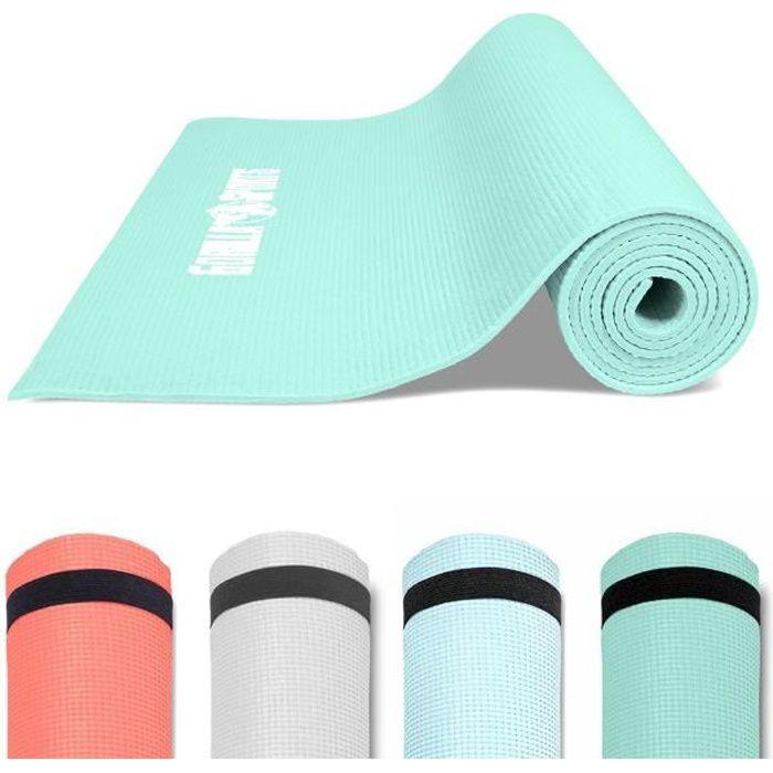 GORILLA SPORTS ® Tapis de yoga, Pilates et fitness PVC Bleu glacier avec sangle - 180 x 60 x 0,5 cm