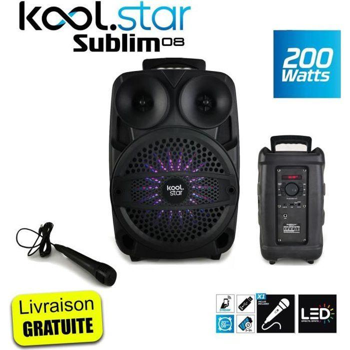 Enceinte autonome SUBLIM08 Koolstar à Led avec micro et Fonction BT/USB/AUX et appplication smartphone - 200W