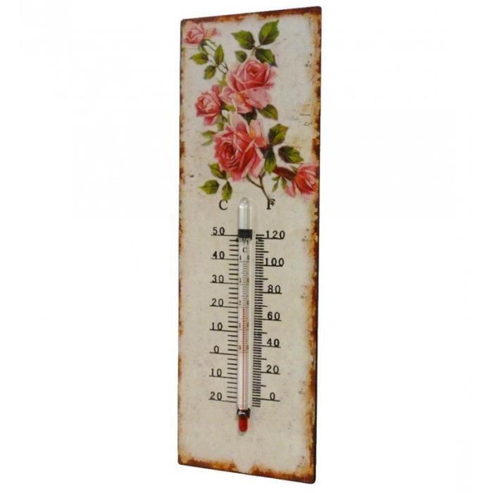 Thermomètre Mural Décoratif en Celsius et Farenheit ou à Poser Motif -Floral- en Fer et Papier Vernis 0,5x8x25cm Multicolore