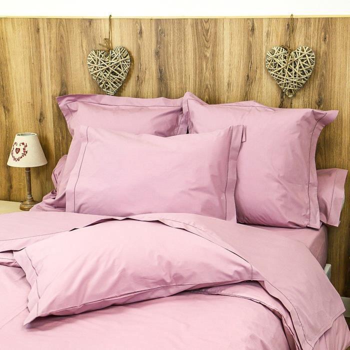 LINANDELLE - Parure Drap plat et taies en coton Percale 200 fils DESIREE - Violet - 180x290 cm