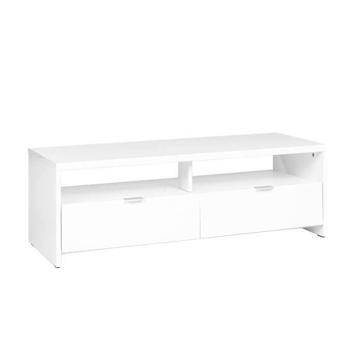 MEUBLES COSY Meuble TV scandinave contemporain Blanc brillant - L 110 x P 41 x H 38 cm
