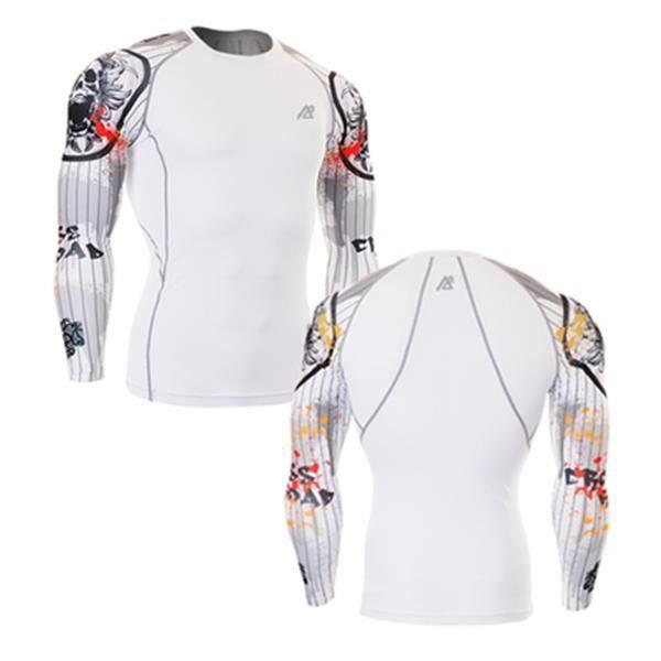 Compression Chemises Homme Couche de base en cours manche longue Gym Workout Shirts Fitness Vêtements Formation