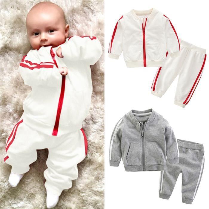 Enfant en bas âge bébé garçons filles manteau à manches longues pantalon vêtements de sport tenues survêtement 90