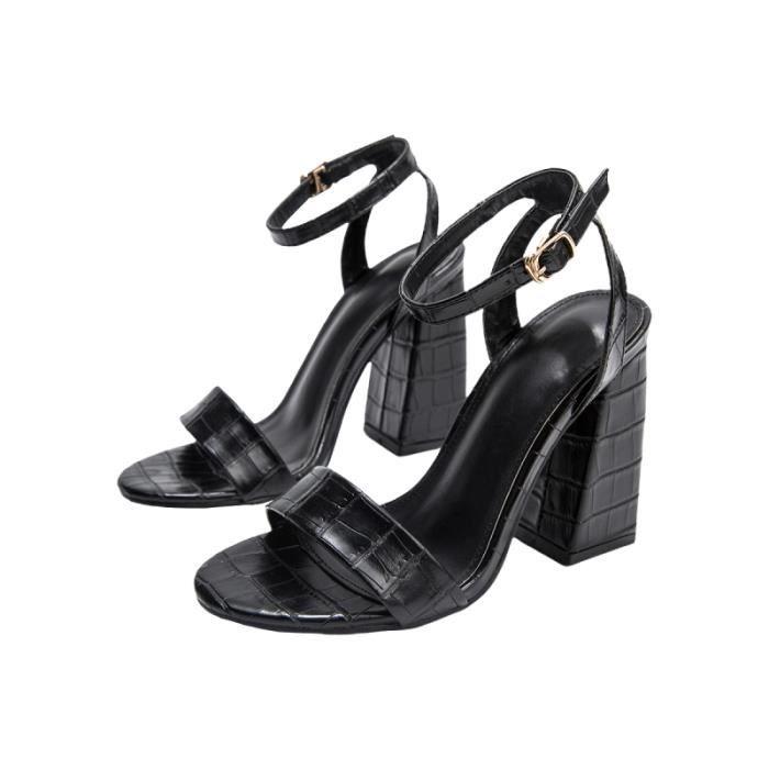 1 paire de sandales à talons hauts chaussures à en grain de bambou de soirée pour femmes (noir taille 36 EU36 SANDALE - NU-PIEDS