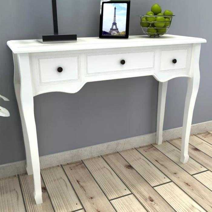 Table de Console extensible et coiffeuse style contemporain avec 3 tiroirs Blanc 100 x 35 x 78 cm