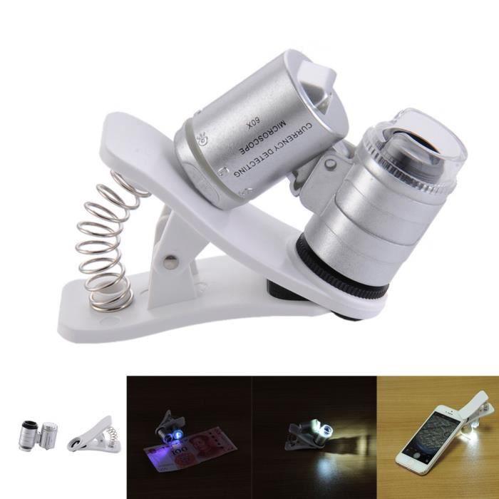 Loupe de microscope de téléphone à clipser 60X avec lumières LED / UV pour SmartPhones universels