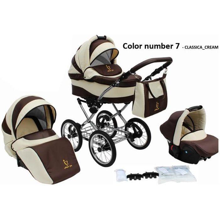 Poussette/Landau avec siège-auto 3en1 et avec accessoires & cadre en chrome et roues 14- gonflables bébé enfant Classica - Crème.