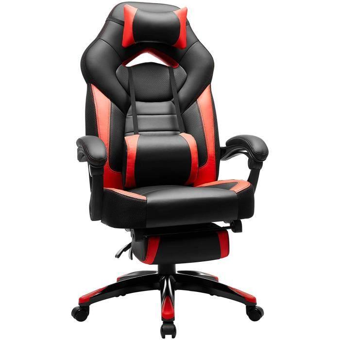 SONGMICS Fauteuil gamer ergonomique Chaise de bureau inclianble Coussin têtière Lombaire Repose-pieds Hauteur réglable OBG77BR