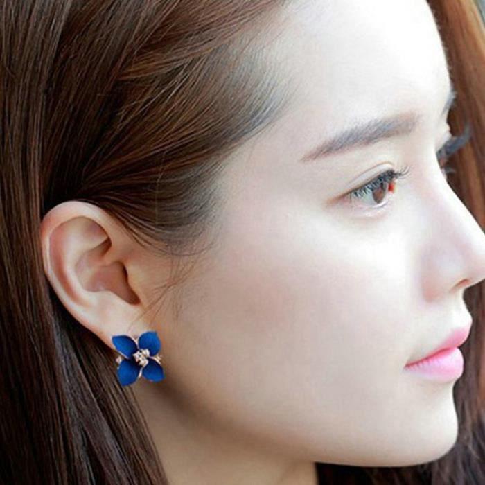 Crystal Gardenia Boucles d'oreilles en or fleur Boucles d'oreille en or de qualité pour femmes Bijoux fantaisie Style d'été