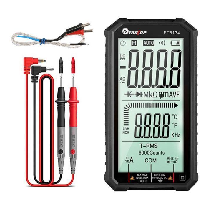 Tooltop Multimètre Et8134 Digital Plein écran Tension Résistance à la fonction d'alarme (pas de batterie)