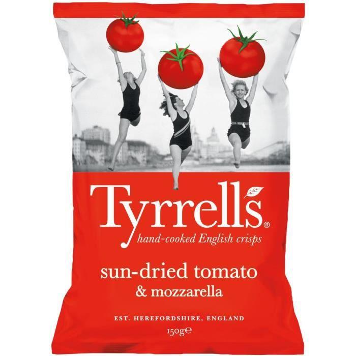 TYRRELL'S Chips de pommes de terre Lisses Sachet de Tomates séchées et Mozzarella - 150 g