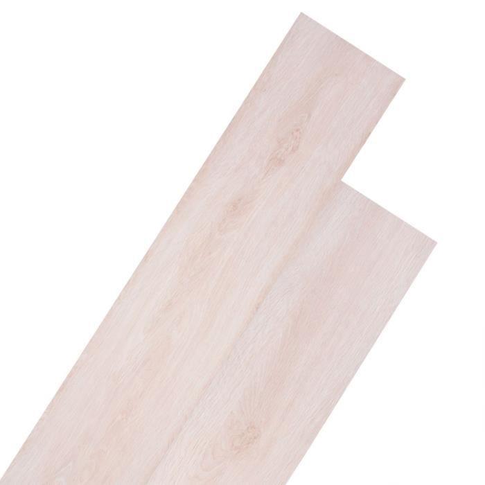 vidaXL Planche de Plancher PVC Autoadhésif Blanc Chêne Dalle de Plancher Sol