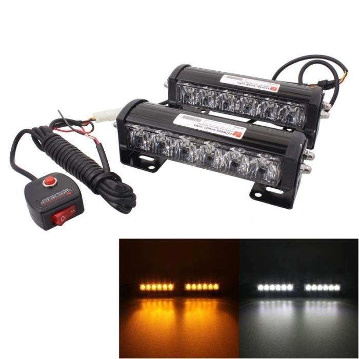 Gyrophare voiture 2 PCS 6 pouces LED x 18W flash d'avertissement Changement de lumière jaune blanche d'urgence étanche 12V DC