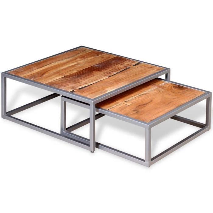 Tables basses Couleur : Marron Materiaux : Bois d\'acacia massif Dimensions  (grande table) :