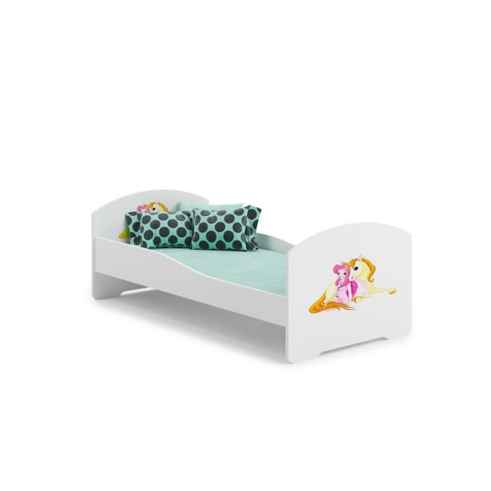 lit enfant fille aux licorne 160x80cm sommier matelas achat vente lit complet lit enfant. Black Bedroom Furniture Sets. Home Design Ideas