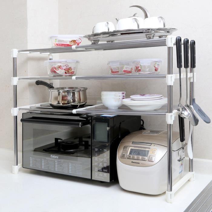 Etagères de cuisine Meuble rangement cuisine de service en métal-étagère micro ondes - Achat ...