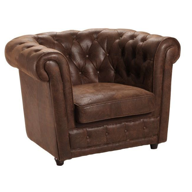 fauteuil chesterfield en microfibres style cuir achat vente fauteuil mati re de la structure. Black Bedroom Furniture Sets. Home Design Ideas