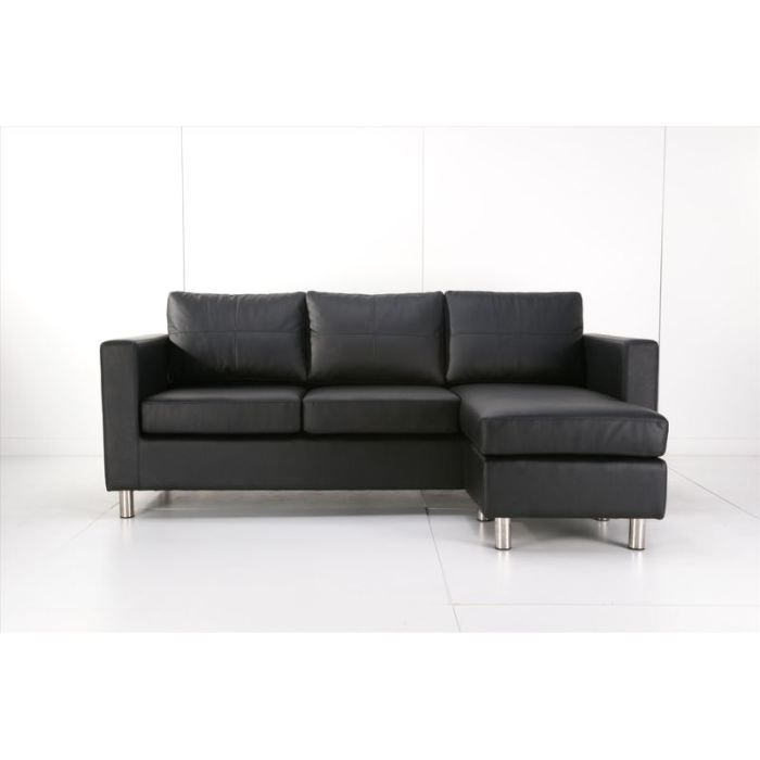 canap d 39 angle modulable roma noir achat vente canap sofa divan cdiscount. Black Bedroom Furniture Sets. Home Design Ideas