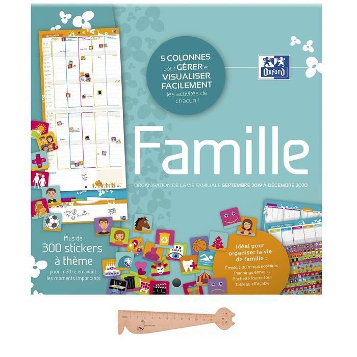 Visuel Aléatoires 400069829 Oxford 1 Calendrier Mensuel Famille Janvier à Décembre 2019-30 x 30 cm