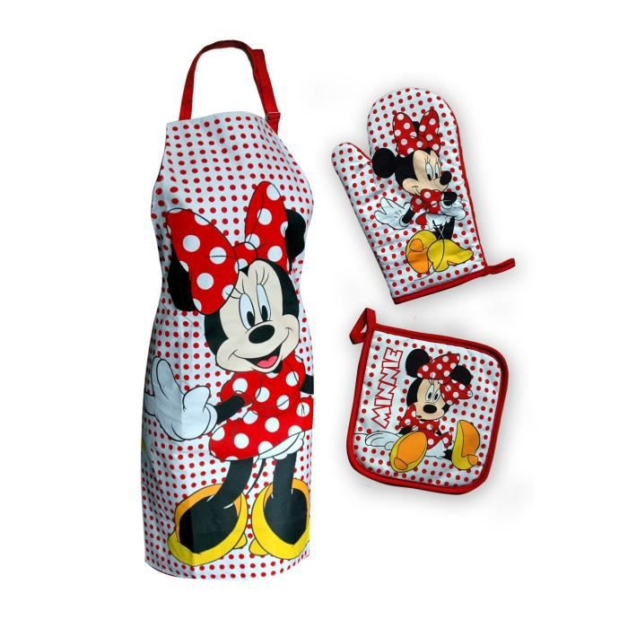 set de cuisine tablier manique gant de cuisine minnie mouse idee cadeau achat vente. Black Bedroom Furniture Sets. Home Design Ideas