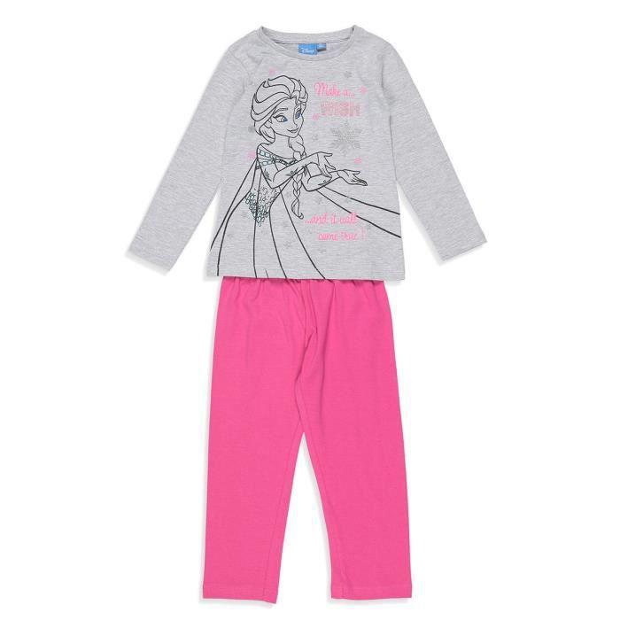 PYJAMA LA REINE DES NEIGES Pyjama Gris Clair et Rose Enfa