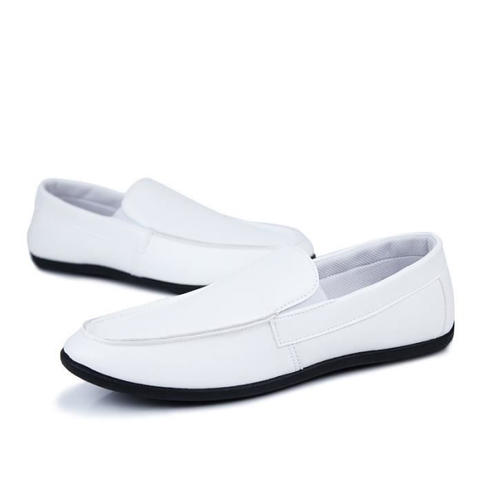 Chaussures Homme New PU Mocassins bateau Blanc