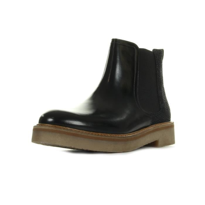 Boots Kickers Oxfordchic Cuir Polido Noir