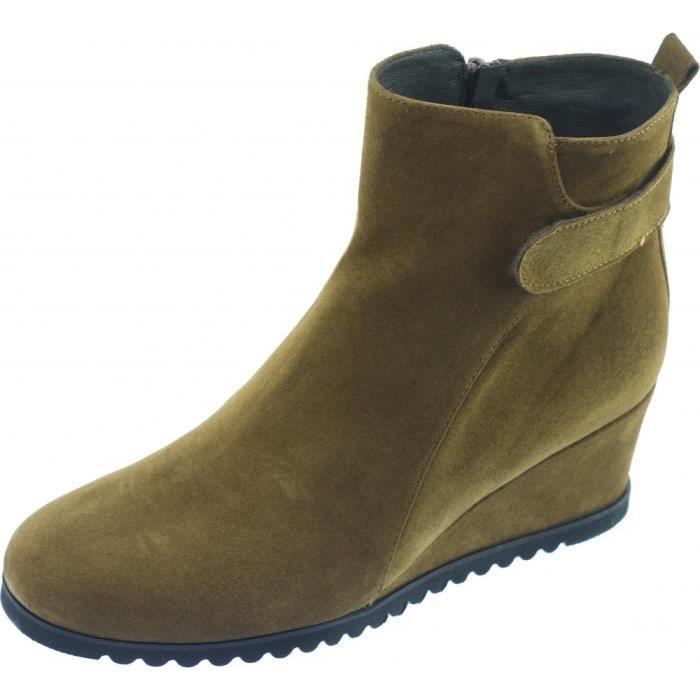 beige talon TALATI petites marque cuir Femme tailles pointures compensée Bottine velours boots tendance Plumers chaussures 3c45ARjqL